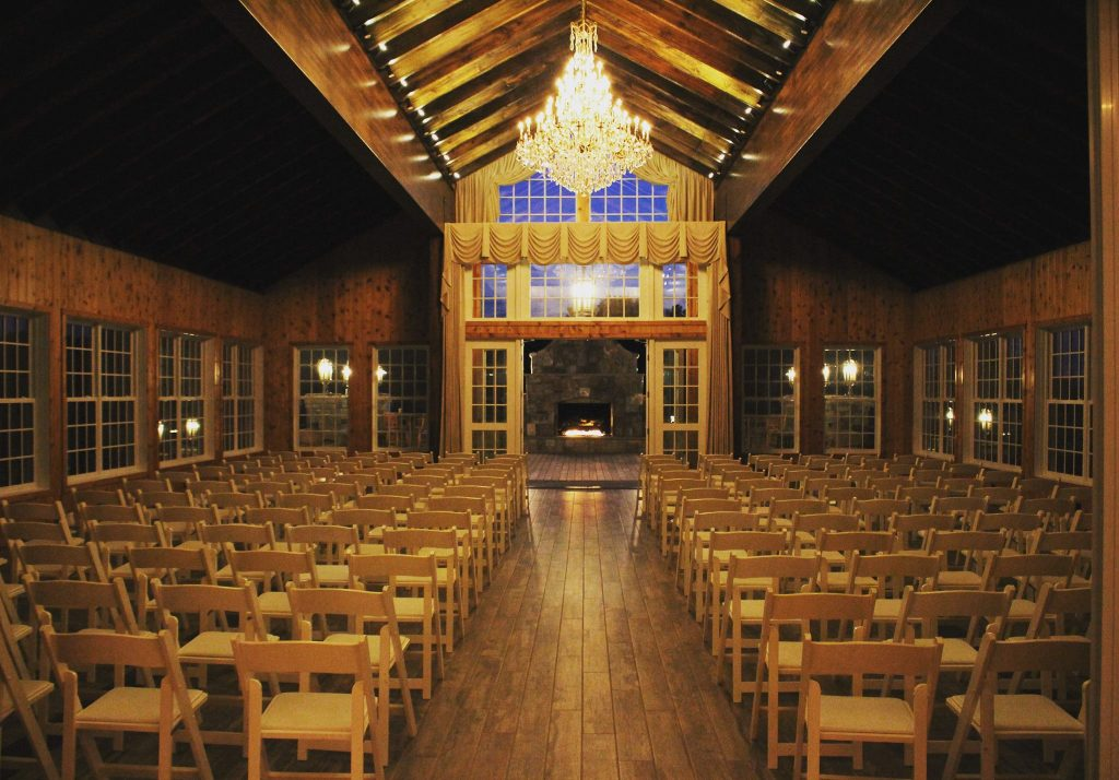 Indoor ceremony space at The Lodge