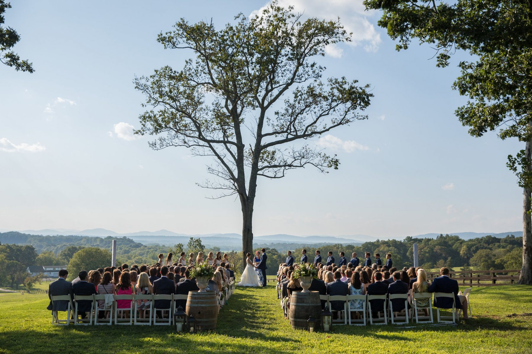 Wedding with Mountain Views under large tree at Mount Ida Farm and Vineyard's Mountain View Ceremony Site