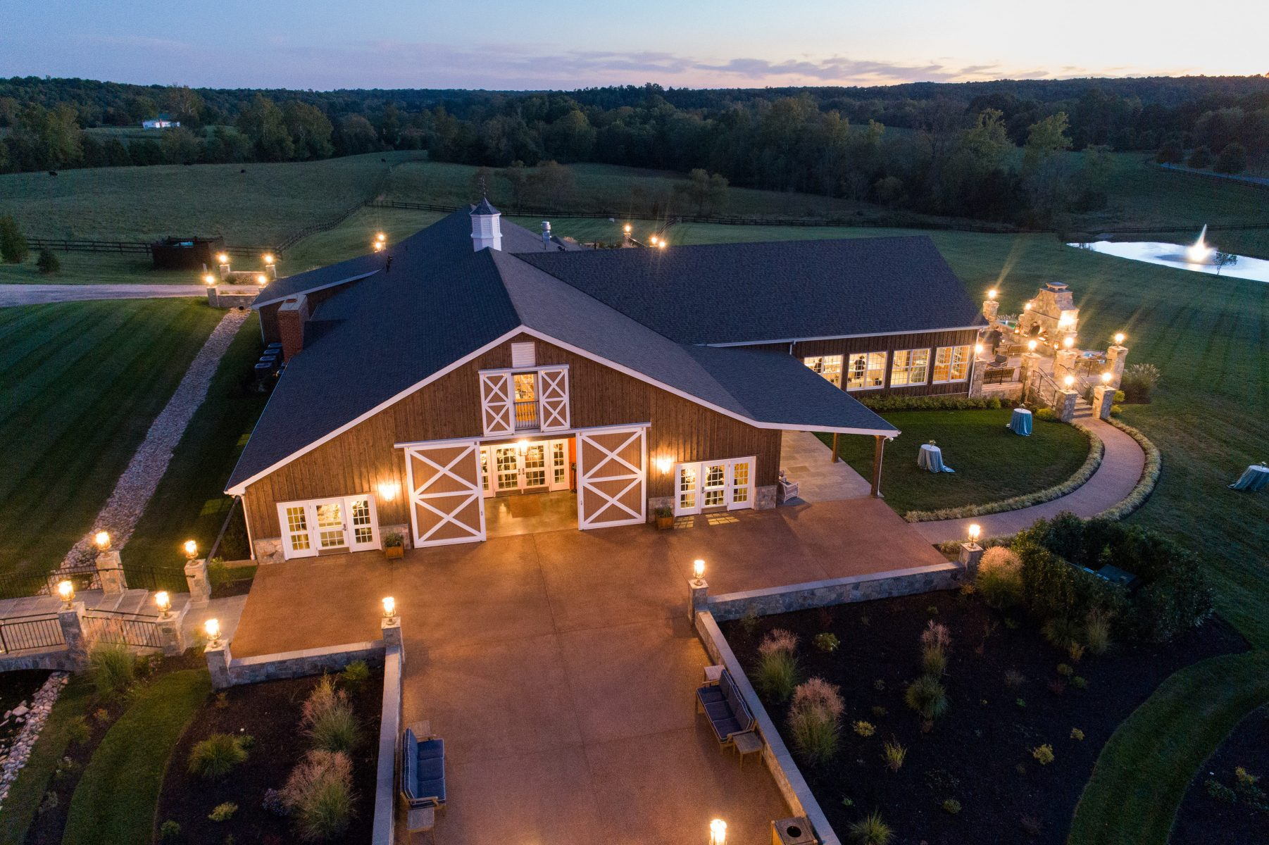 The Lodge at Mount Ida Farm and Vineyard. Barn Wedding Venue- Aerial shot by Aaron Watson