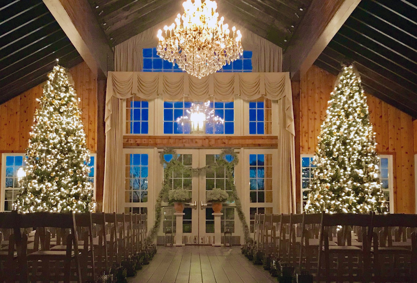 Wedding Venue with Christmas Trees- Christmas Wedding in Wedding Barn Venue Lodge at Mount Ida Farm