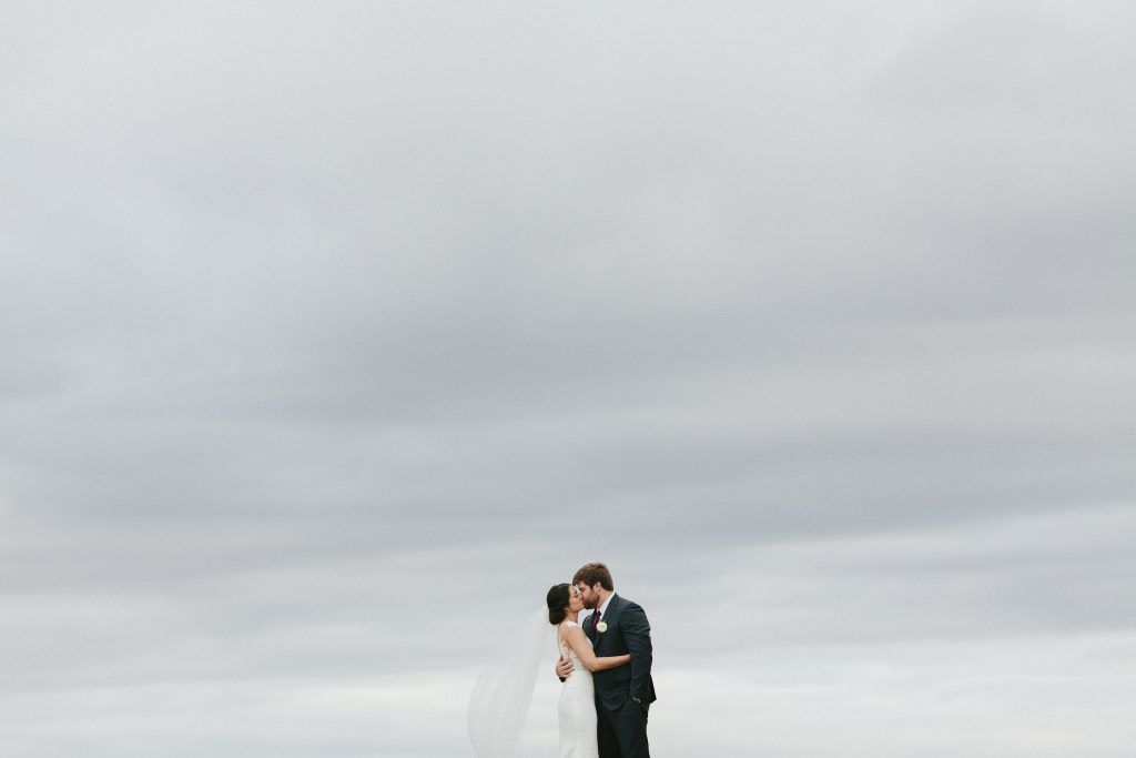 Bride & Groom Cloudy Sky
